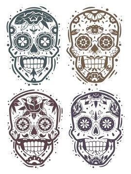 Mexican skull monochrome stencil collection