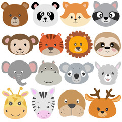 Cute cartoon animals bear,koala, fox, raccoon, monkey, lion, sloth, elephant, llama, dear flat style