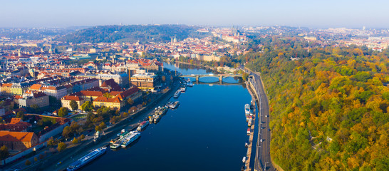 Picturesque view from drone of Prague on banks on Vltava river, capital and largest city of Czech Republic on fall day Papier Peint