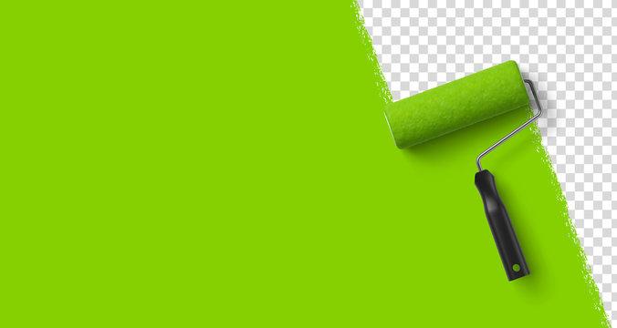 Arrière plan transparent, peinture verte et rouleau à peinture