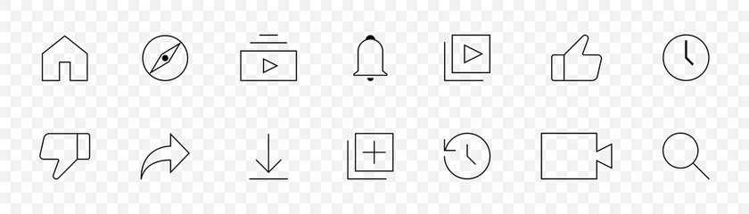 Social icons. Line social vector icons in linear design. Icon, isolated. Vector illustration