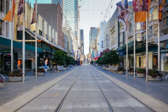 Quiet Melbourne Streets During Coronavirus Pandemic and Stage 4 Lockdown