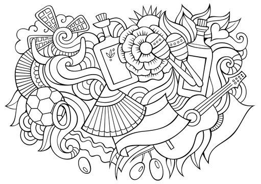 Spain hand drawn cartoon doodles illustration. Funny travel design