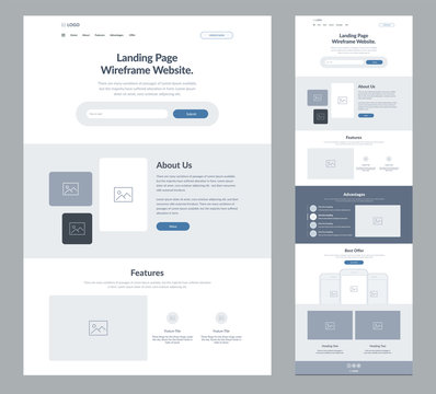Landing page wireframe site design for business. One page web site layout template. Modern responsive design. UX UI website: home, about us, features, advantages and best offer,