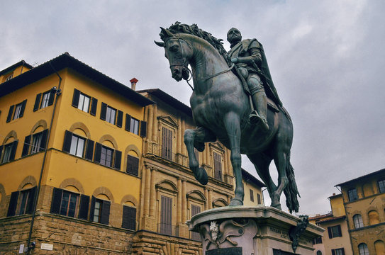 Cosme of Medici equestrian statue in city square in Florence