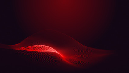 Papiers peints Abstract wave Dot red purple wave line light gradient dark background. Abstract technology big data digital background. 3d rendering.