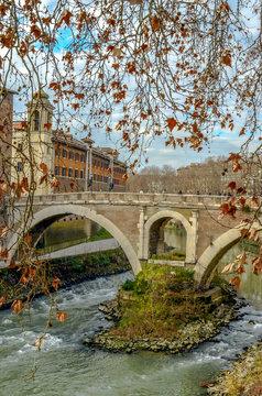 Beautifull shoot of roman bridge in river city