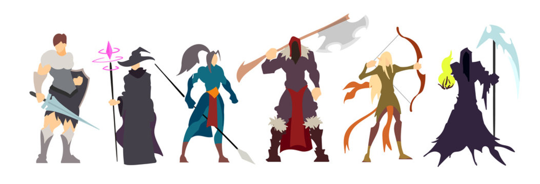 Set of flat fantasy characters, video game classes