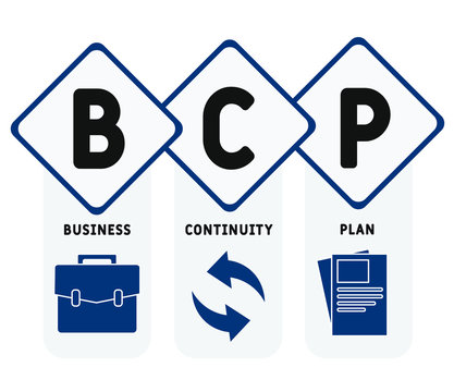 BCP  - business continuity Plan. acronym business concept. vector illustration concept with keywords and icons. lettering illustration with icons for web banner, flyer, landing page