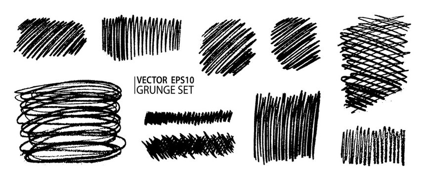 Grunge pencil sketches set. Grunge stains collection. Charcoal pencil hatches. Doodle scribbles set. Grungy textures and strokes.