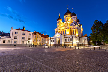 Alexander Nevsky Cathedral in Tallinn during blue hour