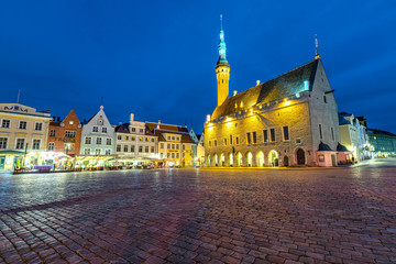 Tallinn town hall square during blue hour