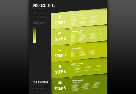 Progress Layout with Five Green Steps and Icons