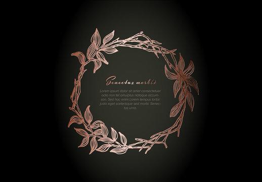 Pink Metalic Circle Floral Flyer Layout