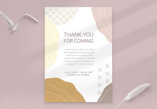 Wedding Thank You Card with Minimal Layout