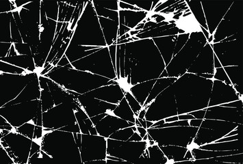 Cracked glass on transparent background. Broken glass texture. cracked glass effect, broken glass, cracked windows, cracked mirror or wall. EPS 10. Vector illustration