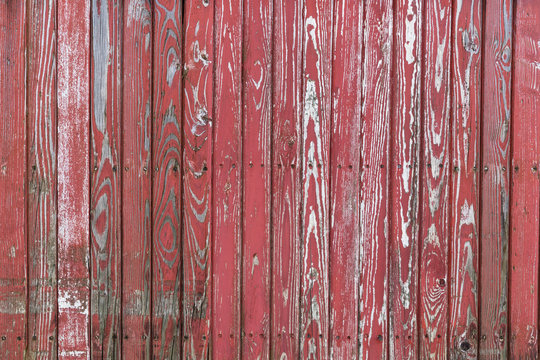 aged red wooden planks