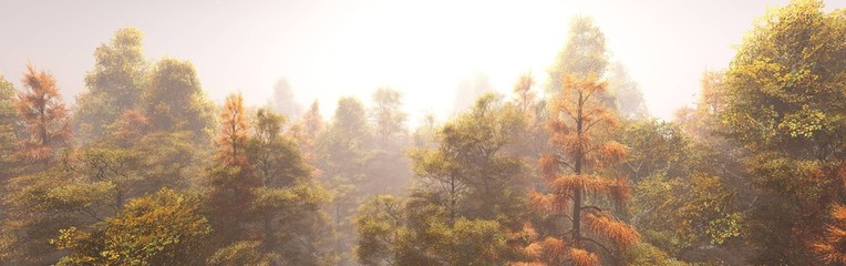 Autumn forest in the morning in the fog, autumn trees in the haze, 3D rendering