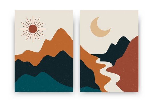 Abstract contemporary landscape posters. Modern boho background set with sun moon mountains, minimalist wall decor. Vector art print