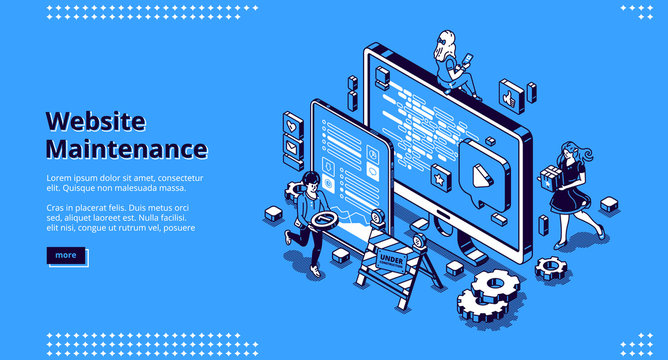 Website maintenance banner. Concept of update internet software, development and management webpages. Vector landing page of site under construction with isometric working people and computer screen