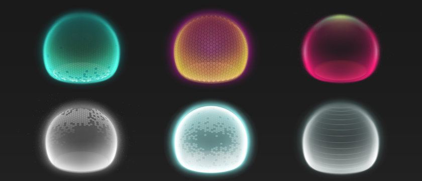 Force shield bubbles, energy glowing spheres or defense dome fields. Science fiction various deflector elements, firewall absolute protection isolated on black background, Realistic 3d vector set