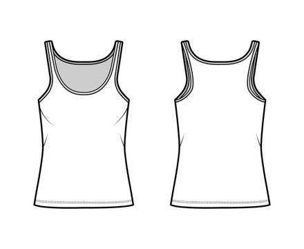 Cotton-jersey tank technical fashion illustration with scoop neck, relaxed fit, tunic length. Flat outwear basic camisole apparel template front back white color. Women men unisex shirt top CAD mockup