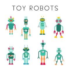 Toy robots - vector robot collection