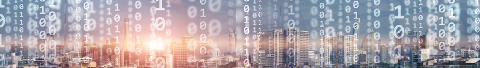 Digital city concept. Mixed Media Binary Code. Banner website.