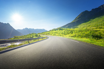 summer road in mountain, Lofoten islands, Norway