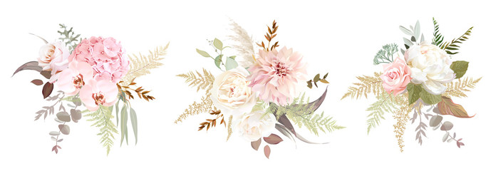 Dusty pink and ivory beige rose, pale hydrangea, peony flower, fern, dahlia