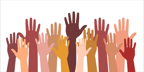 Colored volunteer crowd hands isolated on white background. Raised hand silhouettes, people colorful voting  illustration. Teamwork, collaboration, voting, volunteering concert.