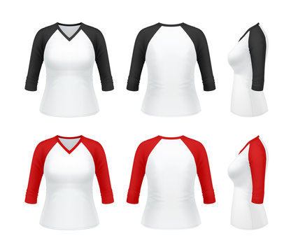 3/4 sleeve raglan t-shirt with V-neck