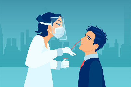 Vector of a medical professional wearing protective gear performing nasal swab test on a patient.
