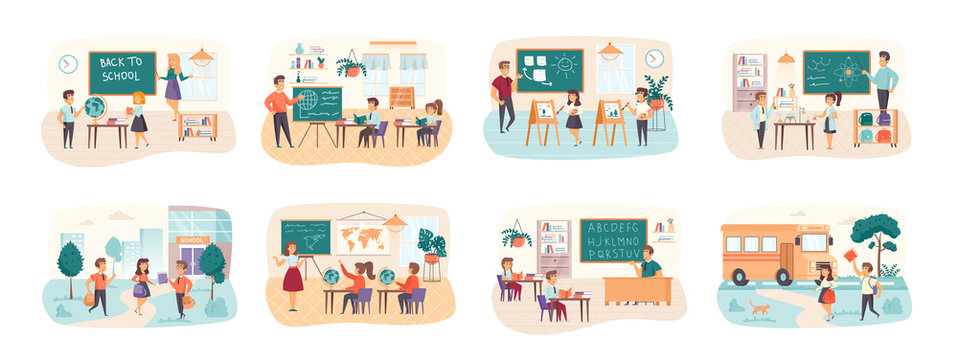 Back to school bundle of scenes with flat people characters. Pupils and teacher in classroom conceptual situations. Elementary schools education, chemistry and geography cartoon vector illustration