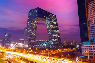 Beijing, China - Jan 12 2020: The CCTV Headquarters on the CMG Guanghua Road Office Area, completed in May 2012, designed by Rem Koolhaas and Ole Scheeren