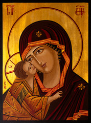 Icon painted in the byzantine or orthodox style depicting the Virgin Mary and Jesus.