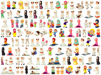 Wall Murals Kids Set of different muslim people cartoon character isolated on white background
