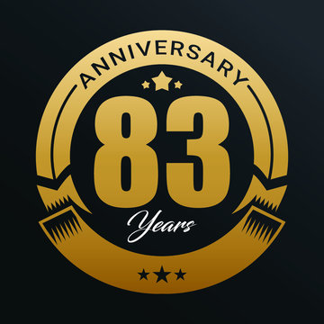83rd Anniversary logo,83 year Anniversary logo design celebration, luxurious golden color logo.