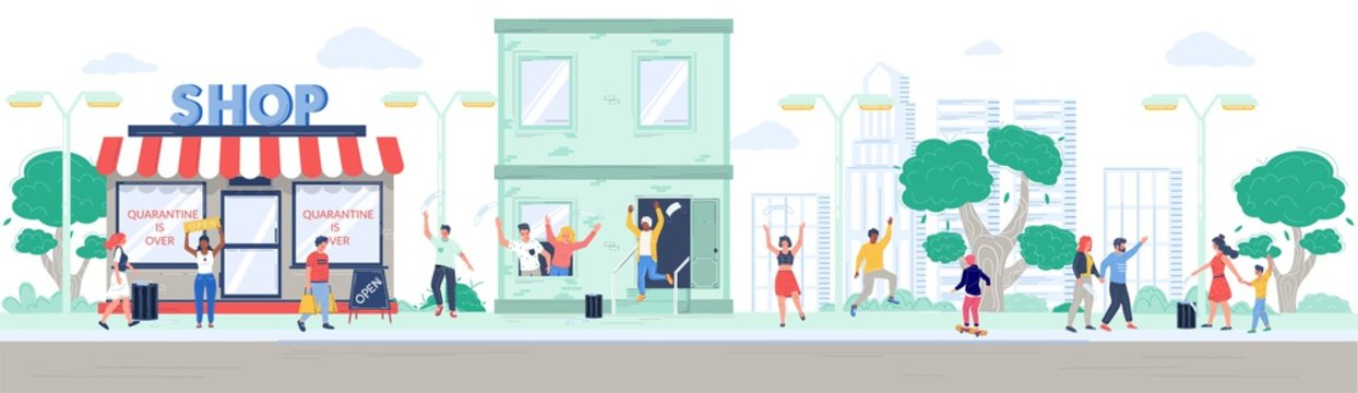 Shop reopening after coronavirus quarantine, happy people leaving house walking in the park, vector flat illustration. Characters removing medical face masks and throwing them away. End of quarantine.