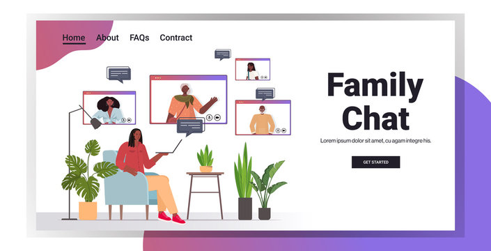african american woman having virtual meeting with family members in web browser windows video call online communication concept living room interior horizontal copy space vector illustration