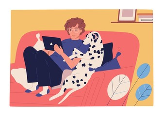 Focused guy and dog sit on couch use tablet vector flat illustration. Male owner and domestic animal watching entertainment video or surfing internet isolated. Man and pet spending time together