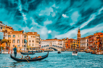 VENICE, ITALY - MAY 12, 2017 : Views of the most beautiful canal of Venice - Grand Canal water streets, boats, gondolas, mansions along. Italy.