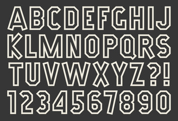 Angular alphabet and number Outline isolated font