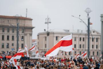 MINSK, BELARUS - August 23, 2020:  March of New Belarus in Minsk. Flag of Belarus. White red white