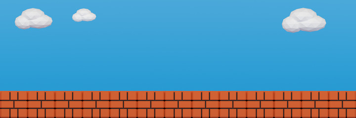 Orange brick floor.Old video game. retro style Background.3D Render illustration.wide panorama banner background.