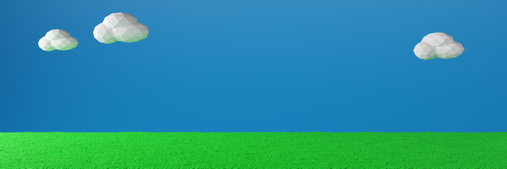 Grass Field and sky.Old video game. retro style Background.3D Render illustration.wide panorama banner background.
