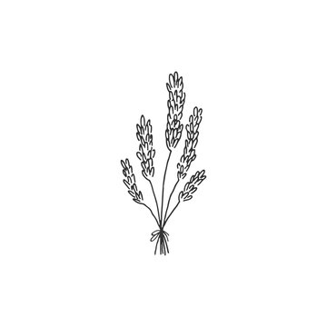 Vector simple hand drawn floral icon. A bouquet of wild flowers.