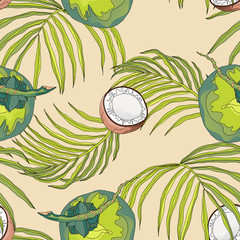 Plant seamless pattern, hand drawn line art coconut and leaves on bright brown