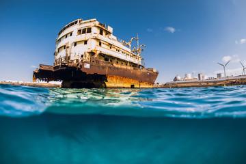 Telamon wreck ship in ocean near coasline. Arrecife, Lanzarote