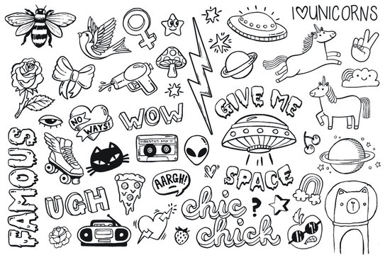 A set of teen culture graffiti doodles suitable for decoration, badges, stickers or embroidery. Vector illustrations.